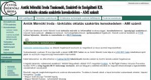 Képernyőkép a régi weboldalról