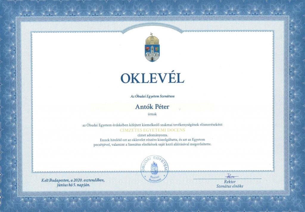 Antók Péter Címzetes egyetemi docens diploma